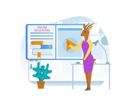 Online Education. Gazelle Cartoon Character Coacher, Business Woman in Pink Dress Doing Presentation, Read Lecture or Seminar at Big Screen with Recorded Lesson and Books. Flat Vector Illustration. Vetores