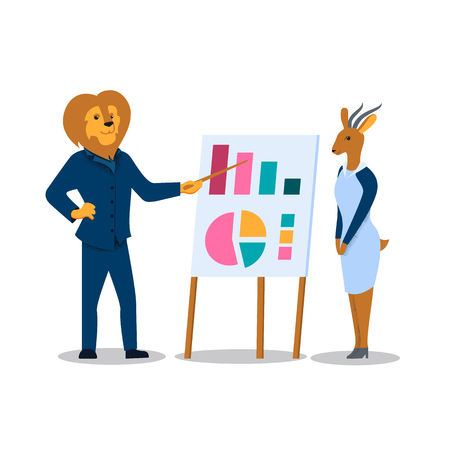 Man with Lion Head Character Pointing on Chart Board with Graphs, Woman with Gazelle Head Listening. Coaching Seminar, Explaining Company Strategy on Meeting with Employees. Flat Vector Illustration Çizim