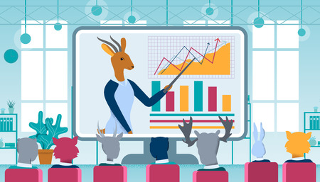 Cartoon Woman Gazelle Character Business Coacher Wearing Dress Doing Online Presentation to Group of Animals Employees in Office. Big Screen with Graphs. Distant Education. Flat Vector Illustration.