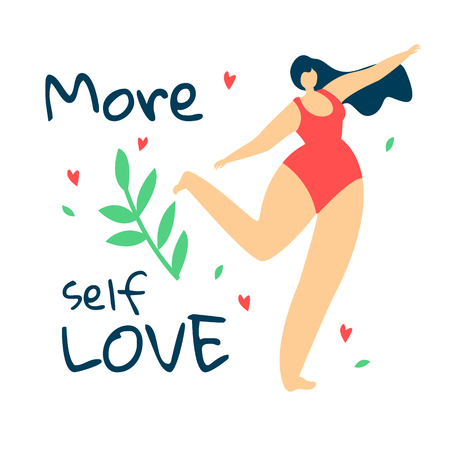 More Self Love. Body Positive Movement. Attractive Overweight Woman with Long Hair Dressed in Red Swimwear Dance on White Background with Green Brunch and Leaves. Cartoon Flat Vector Illustration.