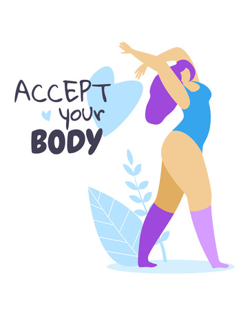 Accept Your Body. Female Character with Purple Hair Dressed in Sports Suit Dance on White Background with Herbs and Heart. Plus Size Woman. Body Positive Movement. Cartoon Flat Vector Illustration. Archivio Fotografico - 125022959