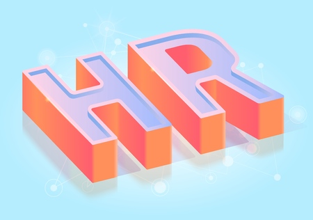 HR Three-dimensional Word, Glossy Extruded Text Title, Isometric Projection Vector Typography Template, job research concept, Hiring Agency Ad Poster, Web Banner Design Element on Gradient Background