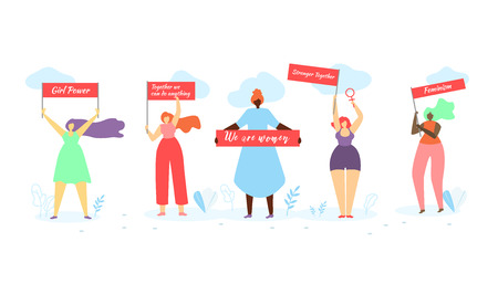 Multiracial Women of Different Height, Figure Type and Size Standing in Row with Banners in Hands on White Background with Grass and Clouds. Girl Power, Feminism. Cartoon Flat Vector Illustration.