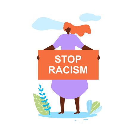 Beautiful Redhead African American Woman Wearing Purple Dress Hold Banner in Hands Stop Racism Standing on Field with Leaves and Grass on White Background with Clouds. Cartoon Flat Vector Illustration