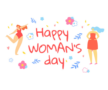 Happy Womans Day Greeting Card. Adorable Girls Dance on White Background with Doodle Flowers and Leaves. Positive Thinking Movement, Enjoying Life, Beauty Diversity. Cartoon Flat Vector Illustration.
