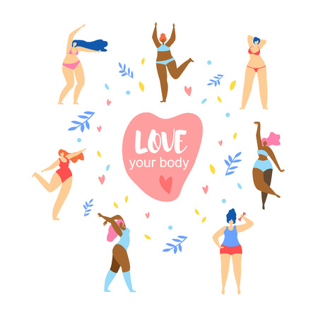 Happy Women and Girls Characters Various Sizes and Races Dance Around of Big Pink Heart with Words Love Your Body on Doodle Herbal Ornament Background. Body Positive, Cartoon Flat Vector Illustration. Illustration