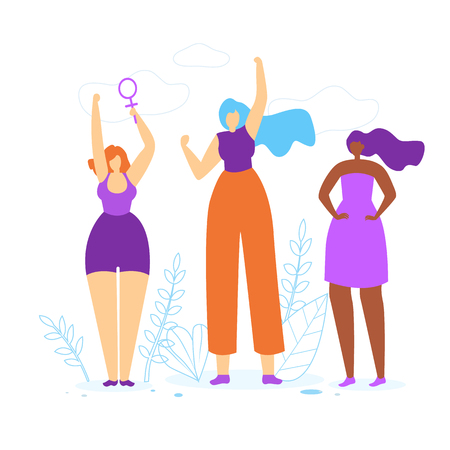 Young Girls with Hands Up. Diverse International and Interracial Women. Female Power Symbol in Hand, Feminism and Feminine, Woman Empowerment Idea. Togetherness. Cartoon Flat Vector Illustration. Ilustração