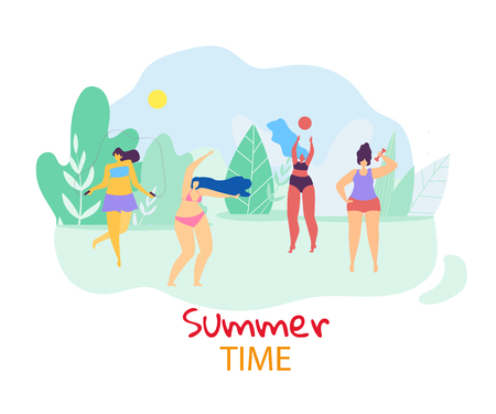 Summer Time. Group of Young Happy Plus Size Women Playing and Relaxing Openair on Landscape Background with Field, Blue Sky and Trees. Active Lifestyle. Body Positive. Cartoon Flat Vector Illustration