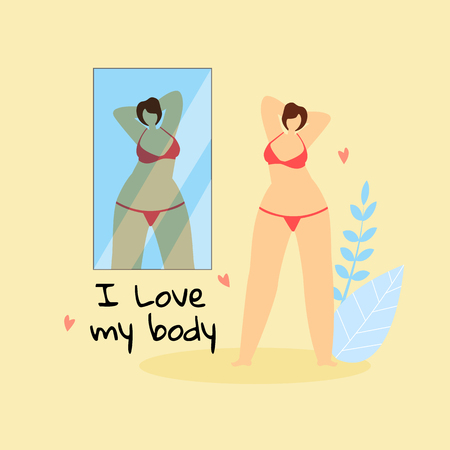 I Love My Body. Female Plus Size Character in Red Bikini Admire of Herself Standing at Big Mirror on Yellow Background with Herbs. Body Positive, Love to Own Figure, Cartoon Flat Vector Illustration.