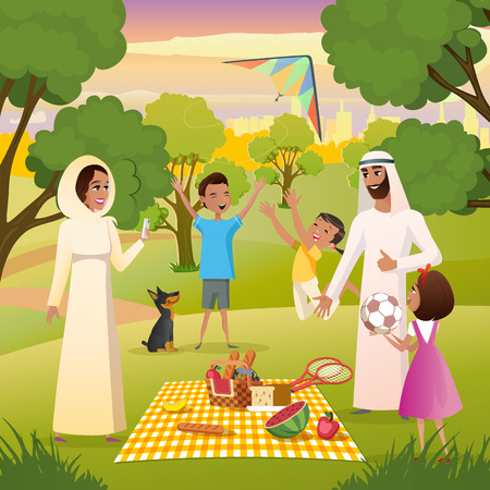 Muslim Family Picnic in City Park Cartoon Vector with Happy Father and Mother in Transitional Ethnic Arabic Clothing Playing Active Games with Children, Eating Snacks, Making Selfie Photo Illustration Illustration