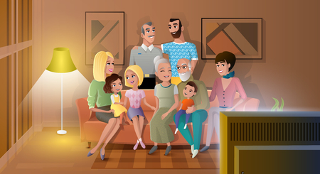 Tree Generations of Big Family Gathered at Home, Spending Time Together, Watching Evening TV Show while Sitting at Sofa in Living Room Cartoon Vector Illustration. Traditional Family Values Concept
