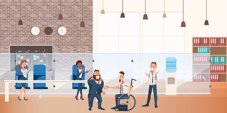 Werknemer maakt succesvolle deal bij Coworking Space. Glimlachende zakenman schud de hand in kantoor. Happy Team Wear Suit maakt overeenkomst. Zakelijke karakterbijeenkomst. Cartoon platte vectorillustratie Vector Illustratie