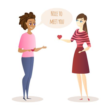 Reunión de personaje de dibujos animados de dos mujeres jóvenes y conversación amistosa. Las niñas sostienen el corazón y la taza en la mano. Encantado de conocerte Inscripción en Speech Bubble. Situación de la vida en la oficina. Ilustración de Vector plano. Ilustración de vector