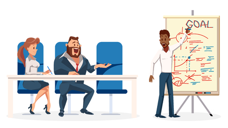 Young Speaker make Presentation for Work Team. Business Character Meeting. Office Worker Show Plan on Board. Smiling Man and Woman Sit on Chair by Table. Cartoon Flat Vector Illustration Çizim