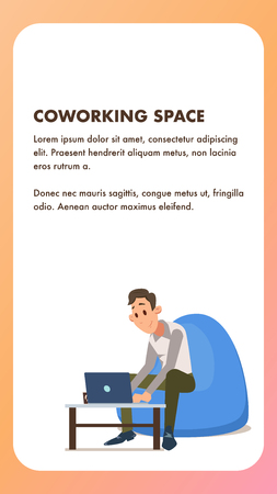 Freelance Worker with Laptop in Beanbag Chair. Businessman Work by Computer on Table in Office. Male Student Character in Formal Suit Sit Relaxed. Flat Cartoon Vector Illustration.