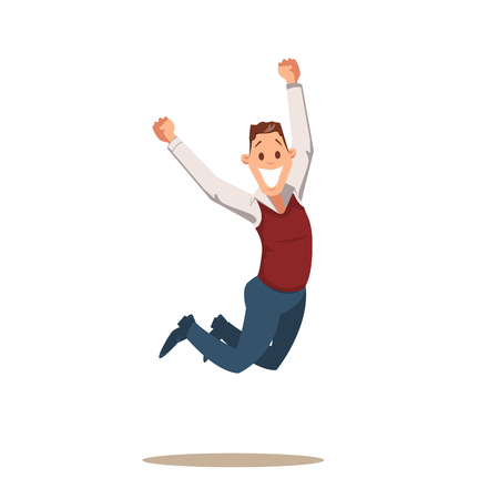 Uomo felice di affari che celebra vittoria saltando. Divertente personaggio maschile uscito pieno di entusiasmo Salta di gioia. Sorridente giovane impiegato di successo. Cartoon piatto illustrazione vettoriale
