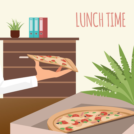 Pizza in Delivery Box at Office Workplace Banner. Lunch Time at Coworking Space. Italian Food in Opened Cardboard Package. Hand Hold Slice of Junkfood. Cartoon Flat Vector Illustration