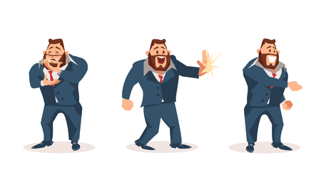 Happy Male Office Worker Character Wear Suit Set. Man Smell Slice of Pizza. Smiling Boss give High Five. Coworker or Businessman with Beard Shake Hand. Flat Cartoon Vector Illustration