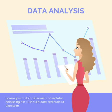 Young Woman in Red Dress Learning Business Graph and Write on Paper in Front of Big Screen. Data Analysis Inscription. Flat Vector Illustration, Banner, Office Lifestyle, Chart Finance Visualisation