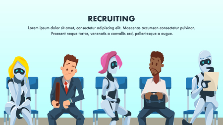 People and Robot Sit in Queue for Job Interview. Human Resource and Modern Technology Hire. Artificial Intelligence Recruitment. Worried Businessman in Suit. Flat Cartoon Vector Illustration