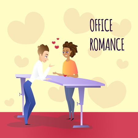 Young Speaking Man and Smiling Woman with Cup in Hand Flirting on Coffee Break Standing at Table, Hearts Between Them and Around. Office Romance Inscription. Flat Vector Illustration, Workplace Love . Ilustrace