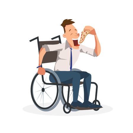 Coworker Sit in Wheelchair with Slice of Pizza. Happy Disabled Office Worker in Formal Outfit Have Italian Food for Lunch or Dinner. Man Eat Junkfood. Cartoon Flat Vector Illustration