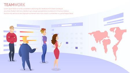 Employees Discuss Idea For Web Project Development Near Huge Screen With World Map. Teamwork Inscription, Horizontal Rectangle Banner, Copy Space. Office Life, Modern Flat Cartoon Vector Illustration