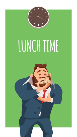 Male Businessman Wearing Suit Smell Pizza Slice. Calm Office Worker Character in Formal Wear Eat Lunch at Work. Peaceful Man Stand under Clock Dial. Flat Cartoon Vector Illustration Illustration