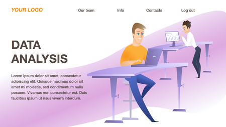 Two Young Business Men at Their Workplace with Computer in Office. Vertical Rectangle Banner, Data Analysis Inscription, Copy Space. Office Working Process, Teamwork Flat Cartoon Vector Illustration