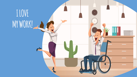 Smiling Woman Jump. Disabled Office Worker Joy. Team Jumping Celebrating Victory. Businessman Wear Suit Sitting in Wheelchair. Happy Coworker Express Emotion Together. Cartoon Flat Vector Illustration