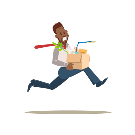 Get Fired. Scared Sad Worker Man Run from Office. Unhappy Employee Dismissed for Bad Work. Stressed Character in Formal Suit Hold Carton Box with Stuff. Flat Vector Cartoon Illustration