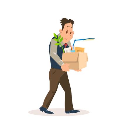 L'uomo triste congedato porta una scatola di cartone con effetti personali. Impiegato sconvolto licenziato per cattivo lavoro in ufficio. Problema di disoccupazione. Personaggio depresso senza lavoro. Illustrazione del fumetto di vettore piatto