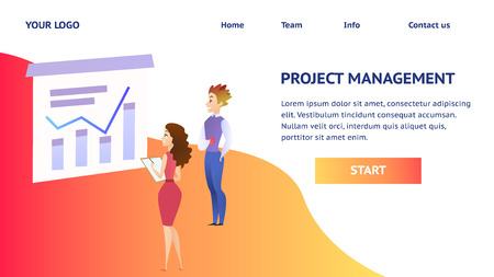 Young Man with Cup and Girl Office Employees Looking at Growing Business Analysis Financial Chart on Big Screen. Flat Vector Illustration. Horizontal Banner, Copy Space, Project Management Inscription
