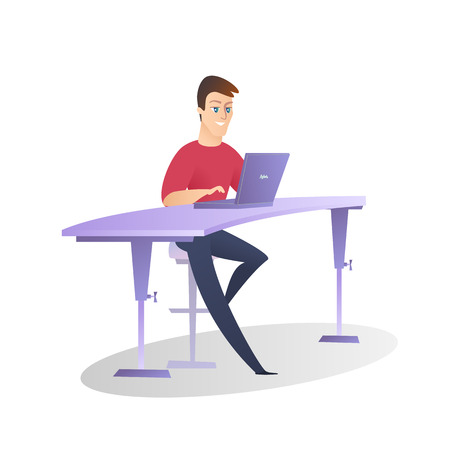 Young Smiling Man with Short Hairstyle, Blue Eyes, Wearing Red Shirt and Dark Jeance Working on Laptop Sitting on Chair at Table on White Background. Flat Vector Illustration, Office Worker Lifestyle
