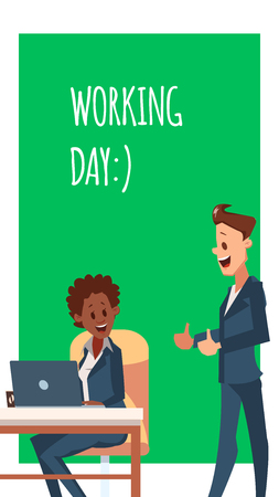 Happy Office Worker Man and Woman Work by Laptop. Businesswoman or Clerk Sit on Chair by Computer. Smiling Male Coworker Character in Suit Show Thumb Up Sign. Flat Cartoon Vector Illustration