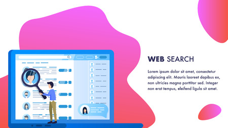 Magnifier Man do Web Employee Search Laptop Screen. Human Resource Office Management. Applicant Character Profile Selection. Professional Worker Hiring. Flat Cartoon Vector Illustration Çizim