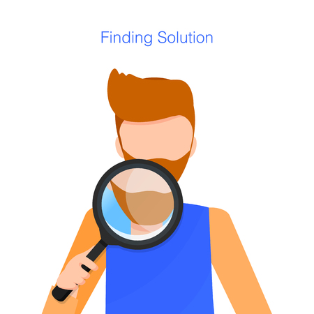 Man with Beard Hold Loupe while Finding Solution. Look through Magnifying Glass Figure out Business. Young Inspector Zoom Magnify. Character Staring. Flat Cartoon Vector Illustration