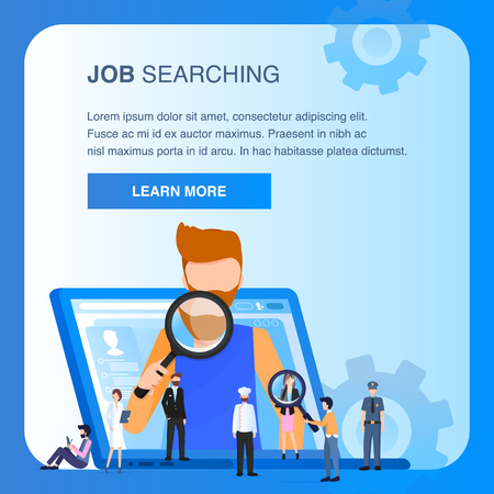 Character Job Searching Man Hold Magnifying Glass Various Occupation People. Employee Appear from Laptop. Human Resource Management. Resume Analysis. Flat Cartoon Vector Illustration 스톡 콘텐츠 - 124938065