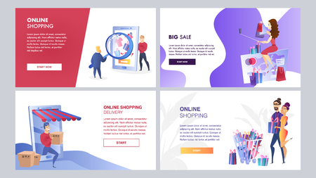 Online Marketing Set of Vector Color Templates. Mass Media, Online Shopping, Search engine, Customer Retention Walkthrough Steps Flat Illustration. Online Advertising Strategy. UX, UI Interface