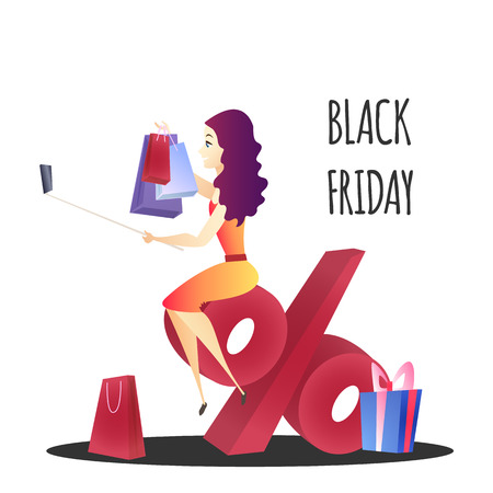Online Shopping Website Element Template. Black Friday Sale Flat Illustration. Woman Sitting on Percentage. Selfie with Purchases Concept. Bonuses and Discounts. Online Shop Web Banner