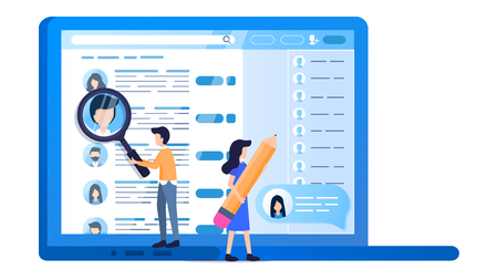 Social Media Profile Laptop Screen Online Search. Man Hold Magnifier Monitoring. Woman Point on Applicant Resume. Open Notebook. Male Character with Magnifying Glass. Flat Cartoon Vector Illustration Çizim