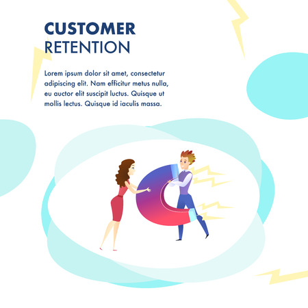 Customer Retention Website Vector Color Template. Customer Attraction. Marketing Campaign, Advertising Illustration. Business Development. Target ad Strategy. Companys Client Service Web Banner