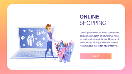 Online Shopping Website Element Vector Template. Big Sale Flat Illustration. Business Development Landing Page. Ad Campaign. Internet, Digital Marketing, E-Payment. Online Shop Web Banner