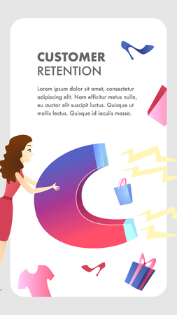 Customer Retention Website Vector Color Template. Customer Attraction. Target ad Strategy. Business Development. Marketing Campaign, Advertising Flat Illustration. Companys Client Service Web Banner