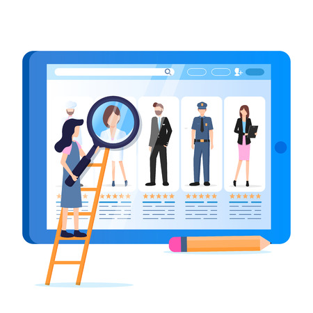 Woman Hold Magnifier Various Occupation Avatar. Social Media Profile on Tablet Monitor. Display Profession. Male Female Character Wear Special Uniform. Flat Cartoon Vector Illustration
