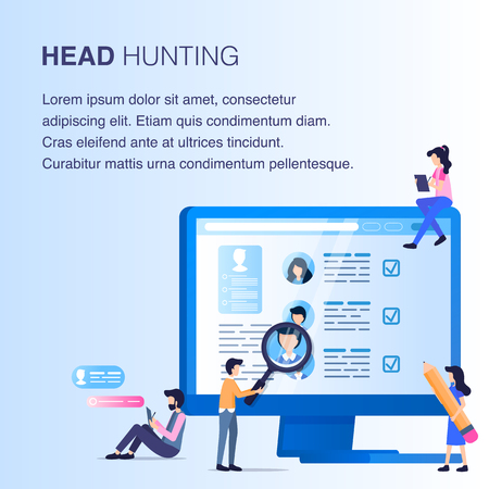 Magnifier Man do Employee Research Head Hunting on Computer Screen. Human Resource Professional Staff Select. Character Look for Best Worker Candidate. Flat Cartoon Vector Illustration Illustration