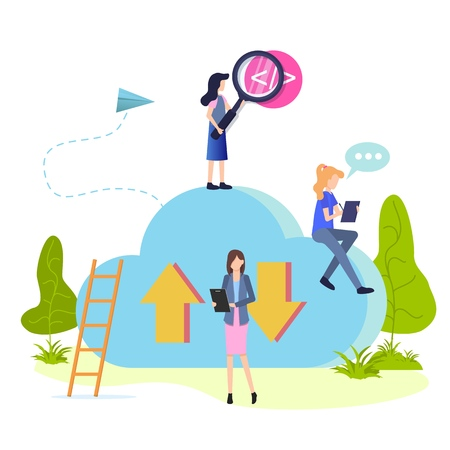 People Work and Search Cloud Storage Flat Cartoon. Character Upload and Download Information use Repository. Businesswoman provide Control Work Organization. Girl Apply Magnifier for Tag Investigation Illustration