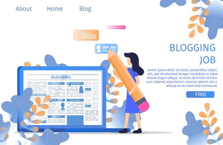 Blogger Finding Job Online Writer Occupation. Journalist Business Professional Vacancy for Copywriter Opportunity. Corporate Media Content Student Banner Flat Cartoon Vector Character Illustration Çizim