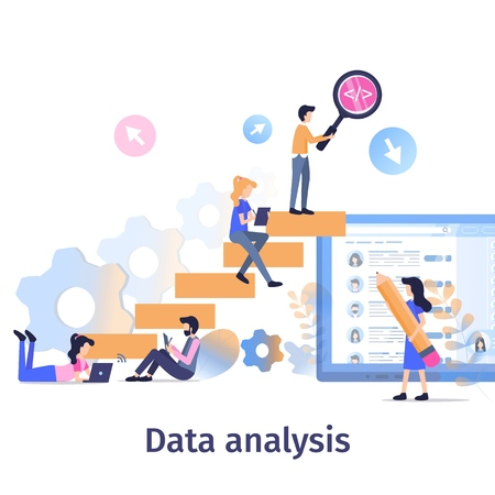 Business Data Analysis Teamwork Strategy Growth. Team Collect Social Media Information. Man Search Content with Magnifier. People Analyze Surveilance Result Flat Cartoon Vector Illustration Çizim