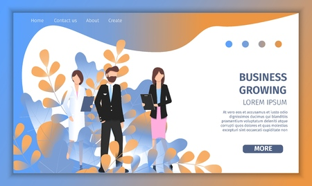 Various Business Character Growth Success Solution. Professional Manager Woman Growing as Leader. Female Doctor and Pilot Man Pose for Progress Banner Flat Cartoon Vector Illustration